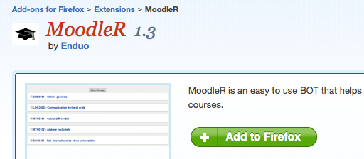 MoodleR: Firefox add-on voor Moodle