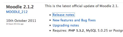 Moodle 2.1.2 en 2.0.5 zijn uit