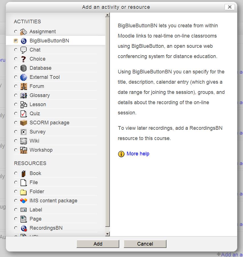 BigBlueButton ondersteuning voor Moodle 2.3