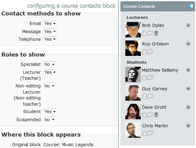 Moodle Course Contacts