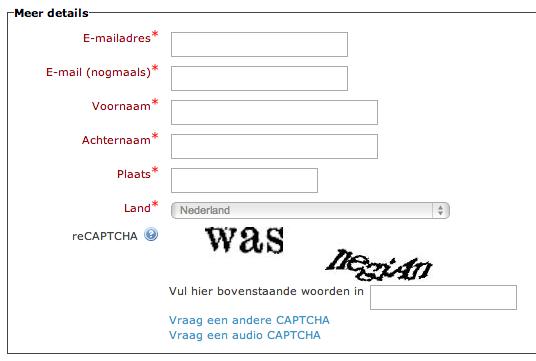 ReCAPTCHA op inschrijfpagina Moodle
