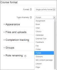 Moodle single activity course format