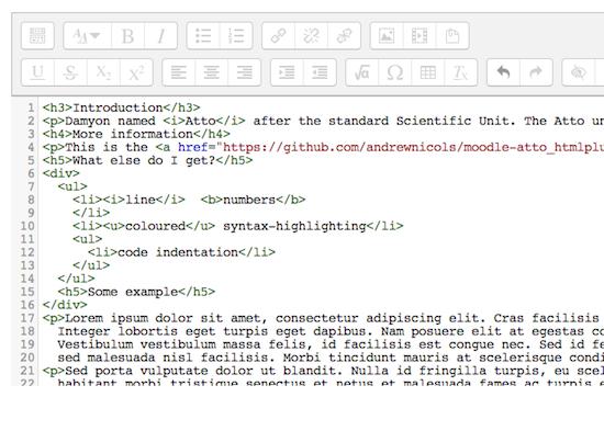 HTML+ plugin voor Atto teksteditor