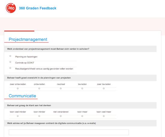 Invulscherm Moodle 360 voor respondenten