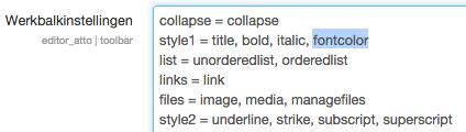 Tekstkleur in Atto tekst editor