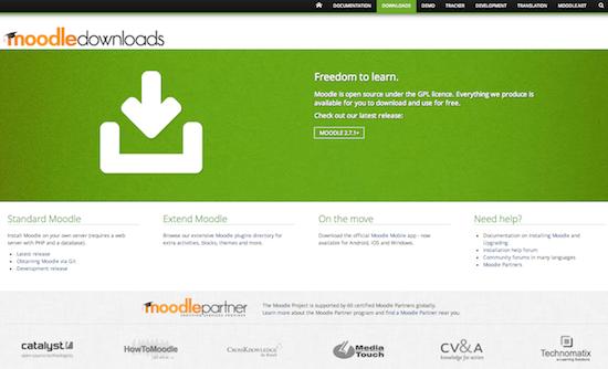 Screendump Downloadsite Moodle