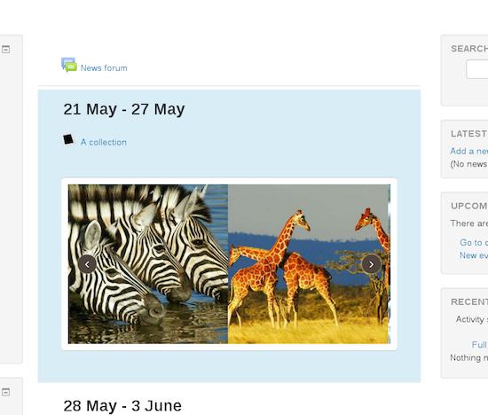 Slideshows van foto's tonen in labels en beschrijvingen