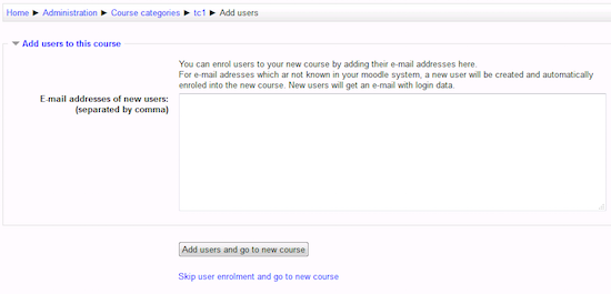 Moodle block course wizard_step2