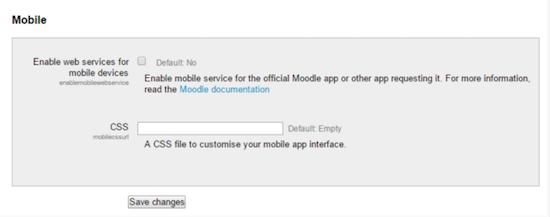 Moodle enable mobile services