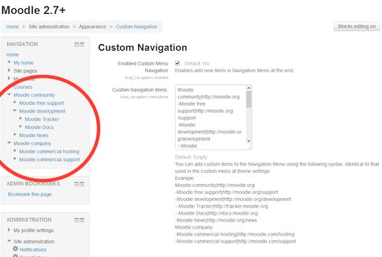 Moodle plugin: Custom Navigation
