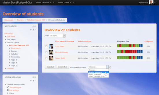 Moodle Progress Bar Overview of students with messaging