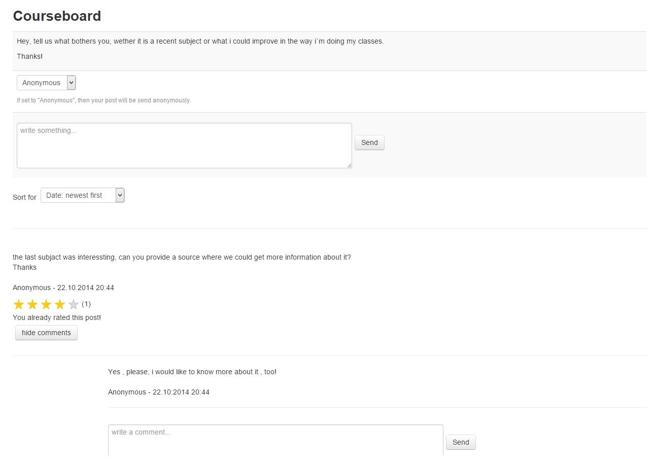Studenten geven feedback aan docenten via Moodle Courseboard