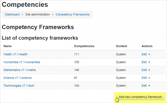 Moodle-competencyframework