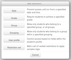 Moodle add_restriction_popup
