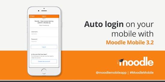 Release van Moodle Mobile 3.2 met auto login