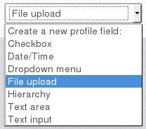Moodle extra profielveld met upload mogelijkheid