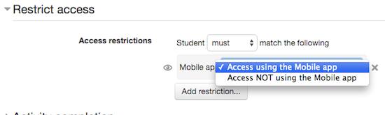 Toon activiteiten wel (of niet) in Moodle Mobile