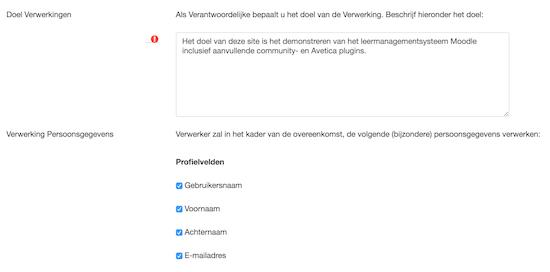 Moodle Privacy (6): Tool voor Verwerkingsregister AVG
